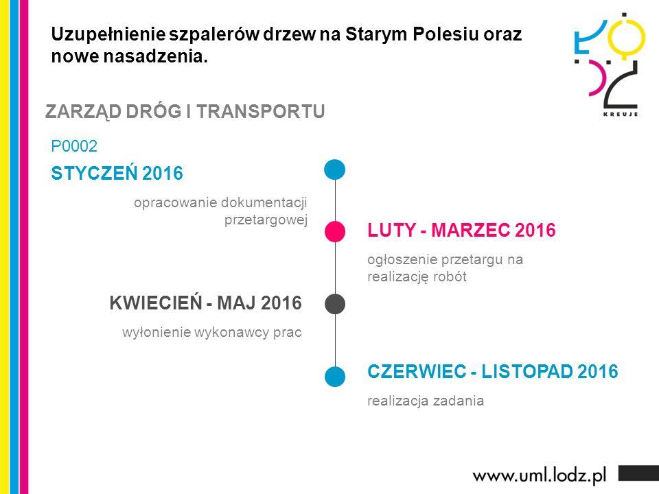 STYCZEŃ 2016 opracowanie dokumentacji przetargowej LUTY - MARZEC 2016 ogłoszenie przetargu na realizację robót KWIECIEŃ - MAJ 2016 wyłonienie wykonawc