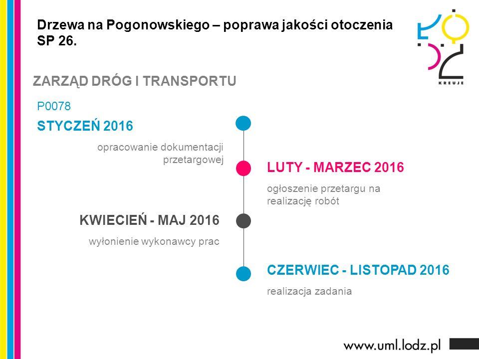 STYCZEŃ 2016 opracowanie dokumentacji przetargowej LUTY - MARZEC 2016 ogłoszenie przetargu na realizację robót KWIECIEŃ - MAJ 2016 wyłonienie wykonawcy prac CZERWIEC - LISTOPAD 2016 realizacja zadania Drzewa na Pogonowskiego – poprawa jakości otoczenia SP 26.