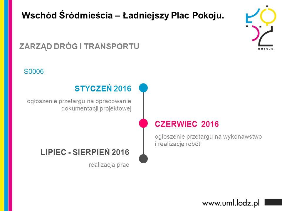 STYCZEŃ 2016 ogłoszenie przetargu na opracowanie dokumentacji projektowej CZERWIEC 2016 ogłoszenie przetargu na wykonawstwo i realizację robót LIPIEC - SIERPIEŃ 2016 realizacja prac Wschód Śródmieścia – Ładniejszy Plac Pokoju.