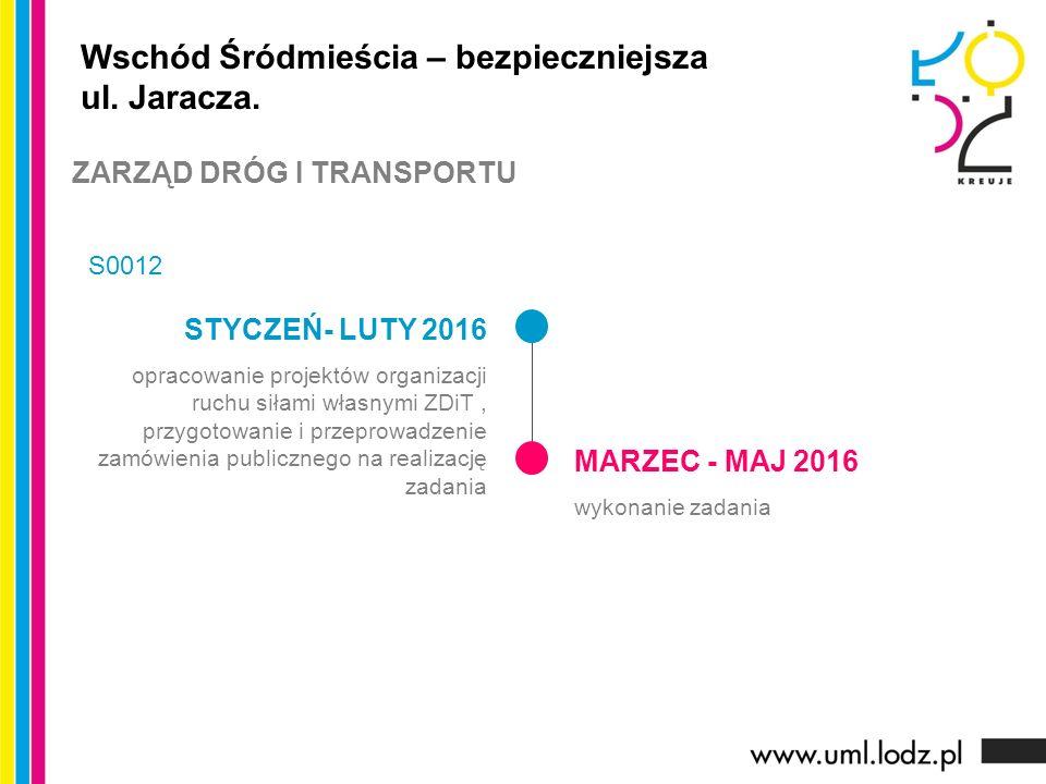 STYCZEŃ- LUTY 2016 opracowanie projektów organizacji ruchu siłami własnymi ZDiT, przygotowanie i przeprowadzenie zamówienia publicznego na realizację