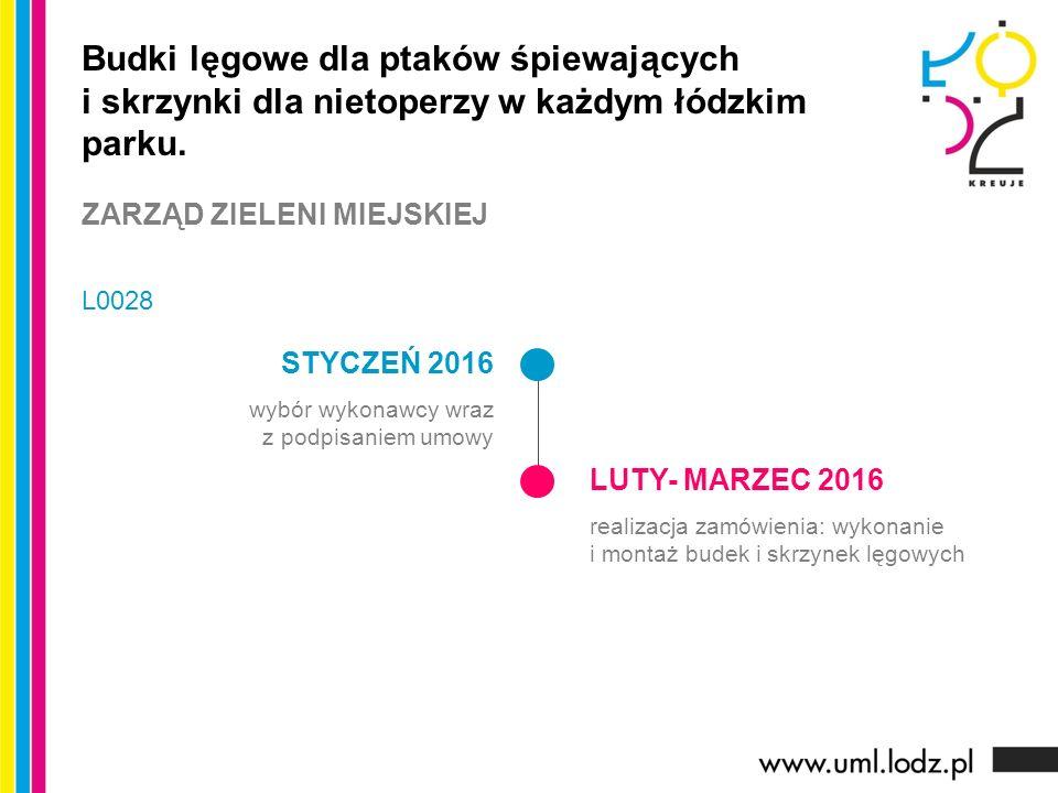STYCZEŃ 2016 wybór wykonawcy wraz z podpisaniem umowy LUTY- MARZEC 2016 realizacja zamówienia: wykonanie i montaż budek i skrzynek lęgowych Budki lęgo