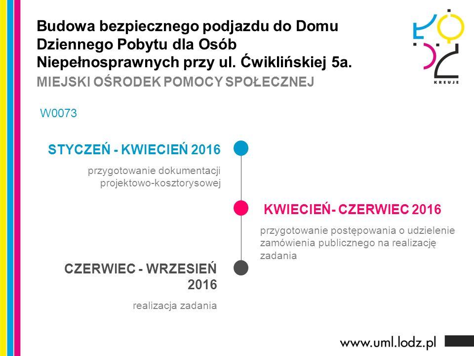 STYCZEŃ - KWIECIEŃ 2016 przygotowanie dokumentacji projektowo-kosztorysowej KWIECIEŃ- CZERWIEC 2016 przygotowanie postępowania o udzielenie zamówienia