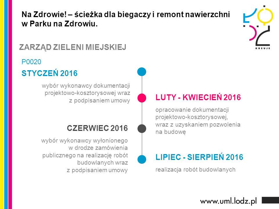 STYCZEŃ 2016 wybór wykonawcy dokumentacji projektowo-kosztorysowej wraz z podpisaniem umowy LUTY - KWIECIEŃ 2016 opracowanie dokumentacji projektowo-kosztorysowej, wraz z uzyskaniem pozwolenia na budowę CZERWIEC 2016 wybór wykonawcy wyłonionego w drodze zamówienia publicznego na realizację robót budowlanych wraz z podpisaniem umowy LIPIEC - SIERPIEŃ 2016 realizacja robót budowlanych Na Zdrowie.