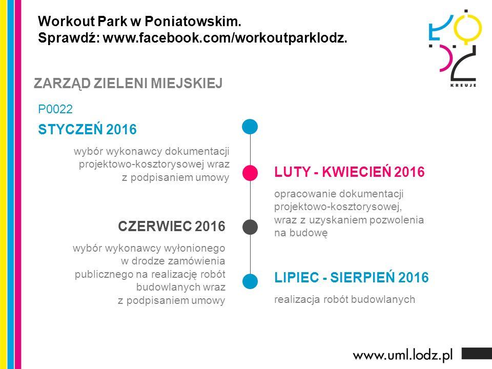 STYCZEŃ 2016 wybór wykonawcy dokumentacji projektowo-kosztorysowej wraz z podpisaniem umowy LUTY - KWIECIEŃ 2016 opracowanie dokumentacji projektowo-kosztorysowej, wraz z uzyskaniem pozwolenia na budowę CZERWIEC 2016 wybór wykonawcy wyłonionego w drodze zamówienia publicznego na realizację robót budowlanych wraz z podpisaniem umowy LIPIEC - SIERPIEŃ 2016 realizacja robót budowlanych Workout Park w Poniatowskim.