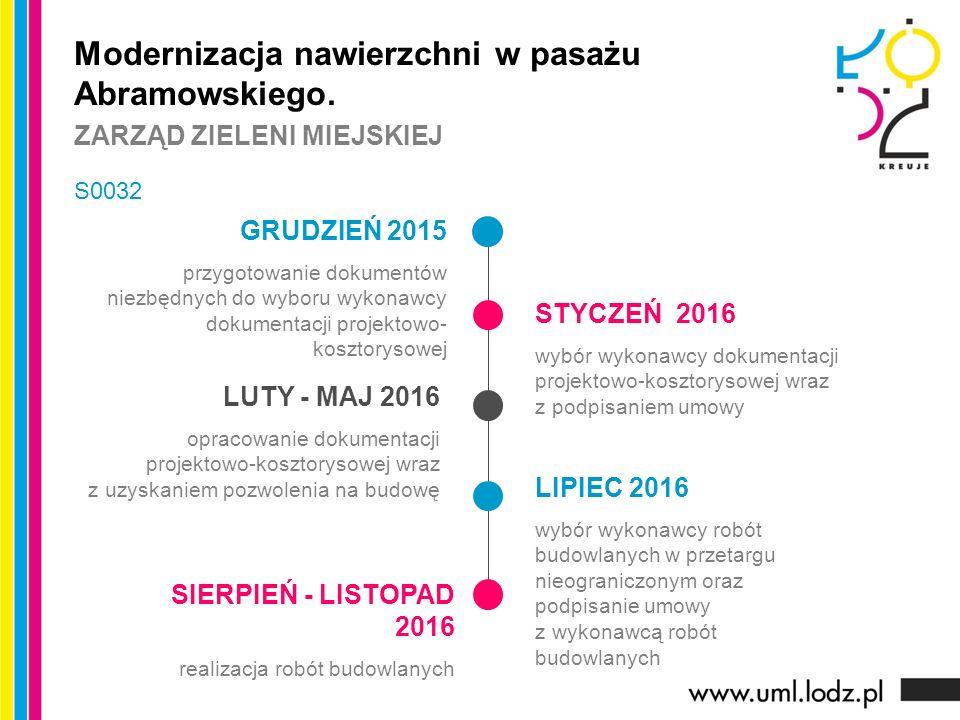 GRUDZIEŃ 2015 przygotowanie dokumentów niezbędnych do wyboru wykonawcy dokumentacji projektowo- kosztorysowej STYCZEŃ 2016 wybór wykonawcy dokumentacji projektowo-kosztorysowej wraz z podpisaniem umowy LUTY - MAJ 2016 opracowanie dokumentacji projektowo-kosztorysowej wraz z uzyskaniem pozwolenia na budowę LIPIEC 2016 wybór wykonawcy robót budowlanych w przetargu nieograniczonym oraz podpisanie umowy z wykonawcą robót budowlanych Modernizacja nawierzchni w pasażu Abramowskiego.
