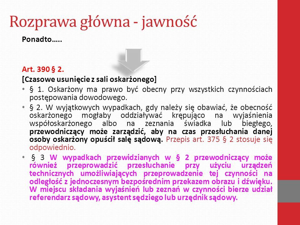 Rozprawa główna - jawność Ponadto…..Art. 390 § 2.
