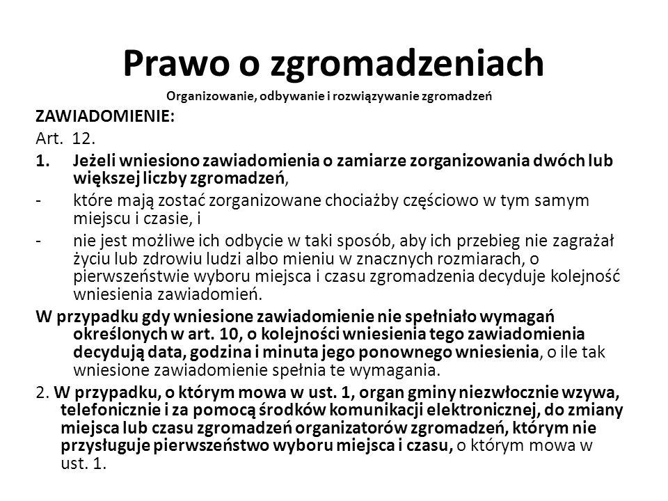 Prawo o zgromadzeniach Organizowanie, odbywanie i rozwiązywanie zgromadzeń ZAWIADOMIENIE: Art. 12. 1.Jeżeli wniesiono zawiadomienia o zamiarze zorgani