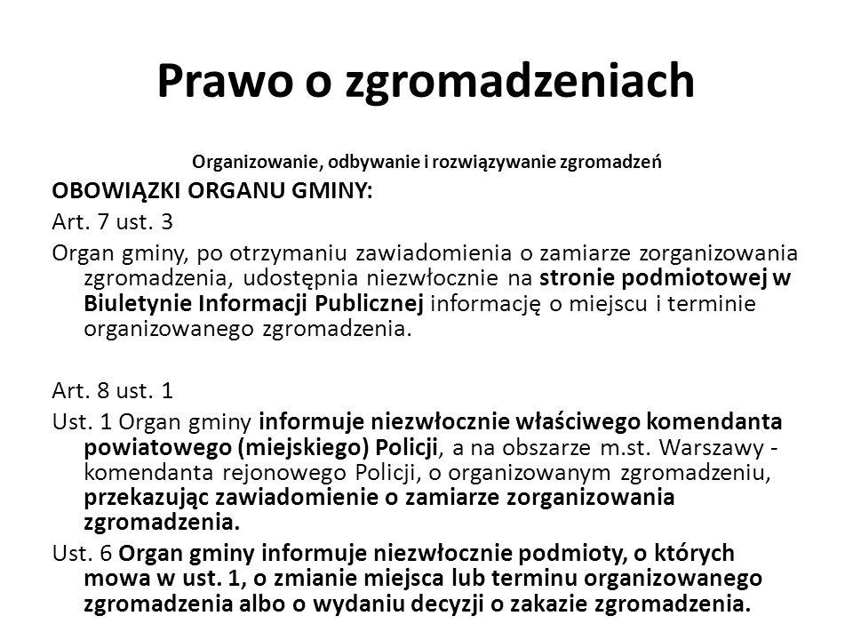 Prawo o zgromadzeniach Organizowanie, odbywanie i rozwiązywanie zgromadzeń OBOWIĄZKI ORGANU GMINY: Art. 7 ust. 3 Organ gminy, po otrzymaniu zawiadomie