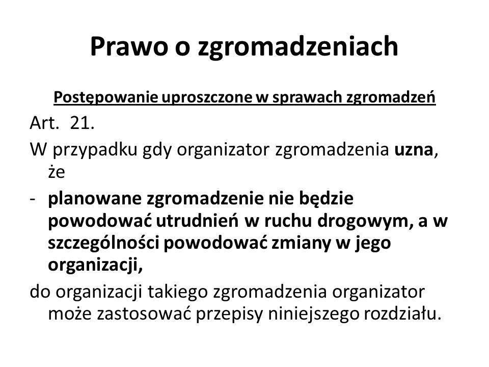 Prawo o zgromadzeniach Postępowanie uproszczone w sprawach zgromadzeń Art. 21. W przypadku gdy organizator zgromadzenia uzna, że -planowane zgromadzen
