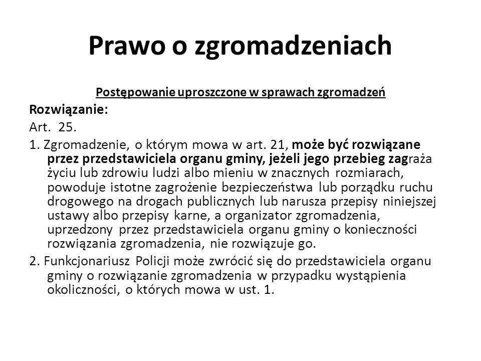 Prawo o zgromadzeniach Postępowanie uproszczone w sprawach zgromadzeń Rozwiązanie: Art. 25. 1. Zgromadzenie, o którym mowa w art. 21, może być rozwiąz