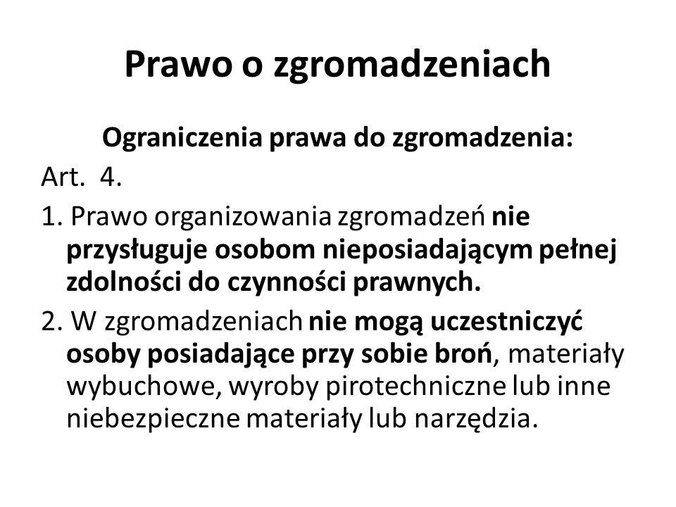 Prawo o zgromadzeniach Ograniczenia prawa do zgromadzenia: Art. 4. 1. Prawo organizowania zgromadzeń nie przysługuje osobom nieposiadającym pełnej zdo