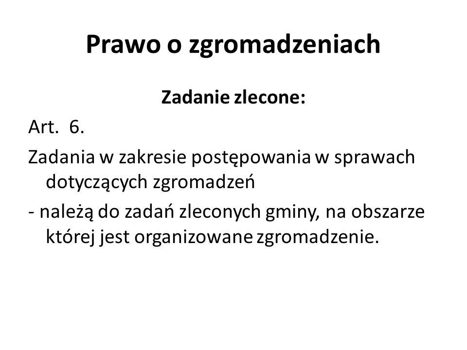 Prawo o zgromadzeniach Zadanie zlecone: Art. 6. Zadania w zakresie postępowania w sprawach dotyczących zgromadzeń - należą do zadań zleconych gminy, n