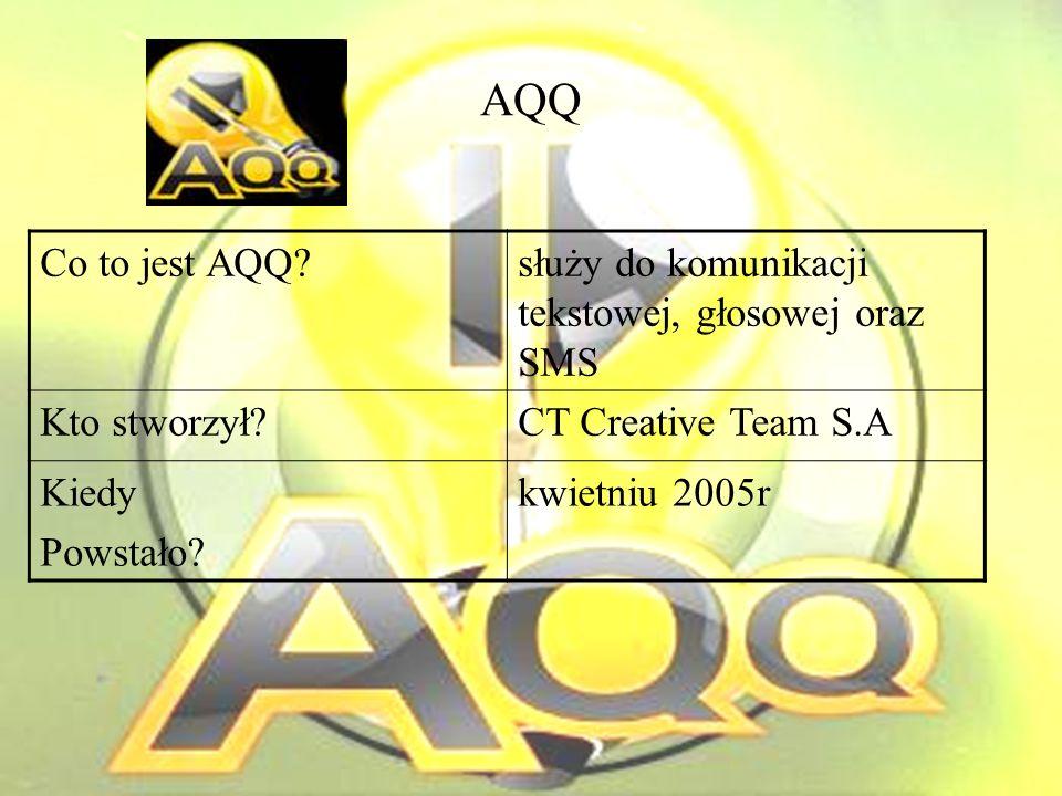 AQQ Co to jest AQQ służy do komunikacji tekstowej, głosowej oraz SMS Kto stworzył CT Creative Team S.A Kiedy Powstało.
