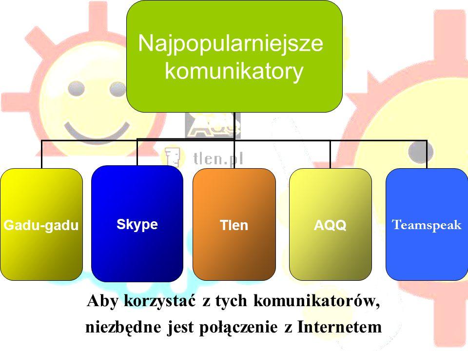 bibliografia Admin (2008) Hej http://blog.gadu-gadu.pl/tag/funkcje/ [3 maja 2011]http://blog.gadu-gadu.pl/tag/funkcje/ http://www.av-school.pl/forum/index.php?showtopic=163 http://www.tlen.pl/ http://pl.wikipedia.org/wiki/Komunikator_Tlen.pl http://www.aqq.eu/ Teamspeak wikipedia(PL) - http://pl.wikipedia.org/wiki/Teamspeak http://pl.wikipedia.org/wiki/Teamspeak Teamspeak wikipedia(UK) - http://en.wikipedia.org/wiki/TeamSpeak http://en.wikipedia.org/wiki/TeamSpeak Teamspeak download - http://www.teamspeak.com/?page=downloads http://www.teamspeak.com/?page=downloads