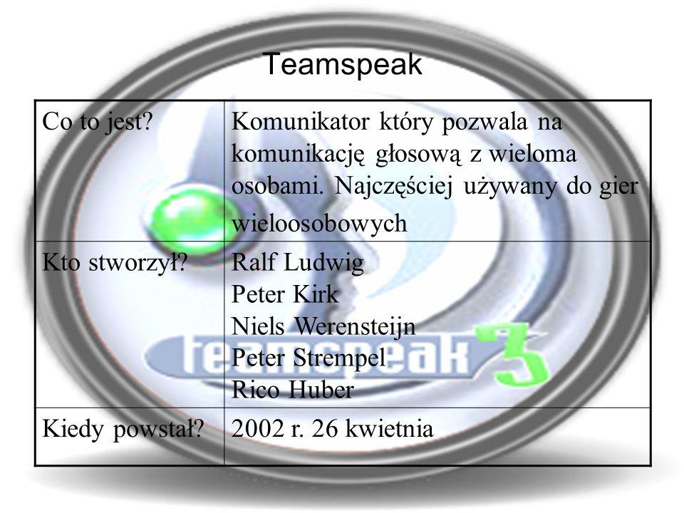 Teamspeak Co to jest Komunikator który pozwala na komunikację głosową z wieloma osobami.
