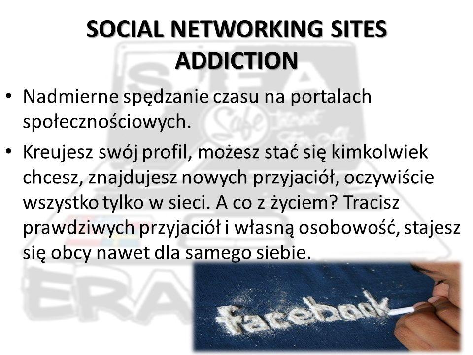 SOCIAL NETWORKING SITES ADDICTION Nadmierne spędzanie czasu na portalach społecznościowych.