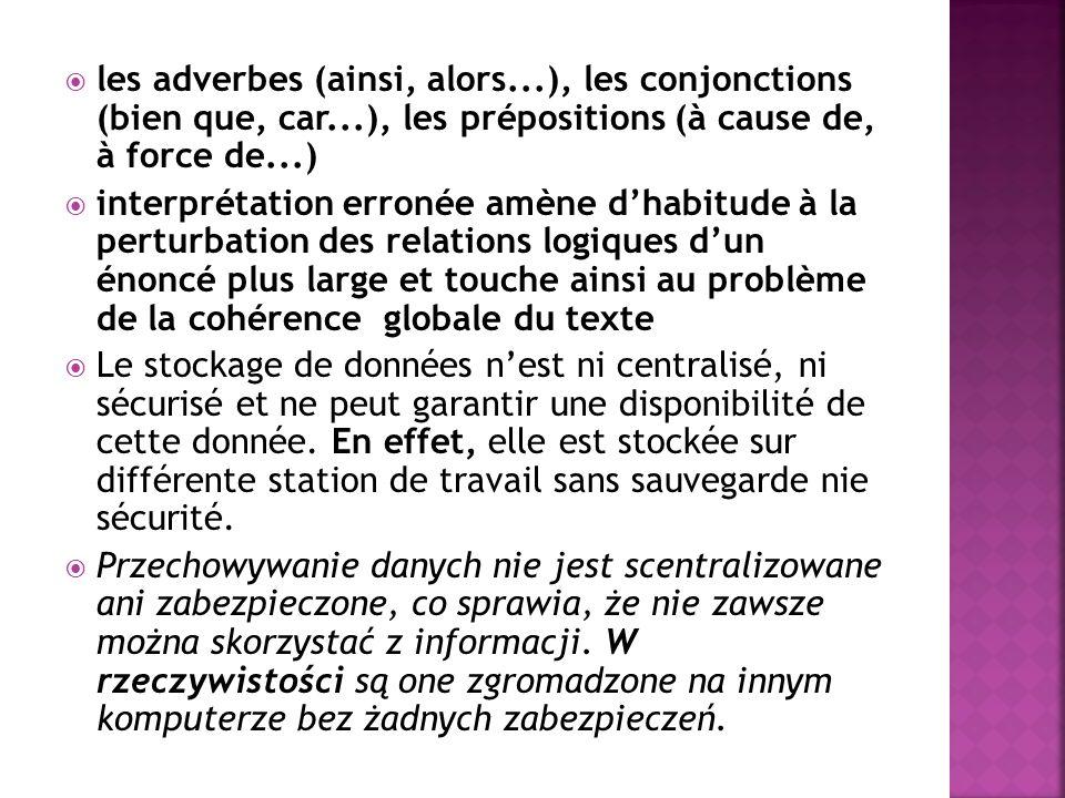  les adverbes (ainsi, alors...), les conjonctions (bien que, car...), les prépositions (à cause de, à force de...)  interprétation erronée amène d'habitude à la perturbation des relations logiques d'un énoncé plus large et touche ainsi au problème de la cohérence globale du texte  Le stockage de données n'est ni centralisé, ni sécurisé et ne peut garantir une disponibilité de cette donnée.