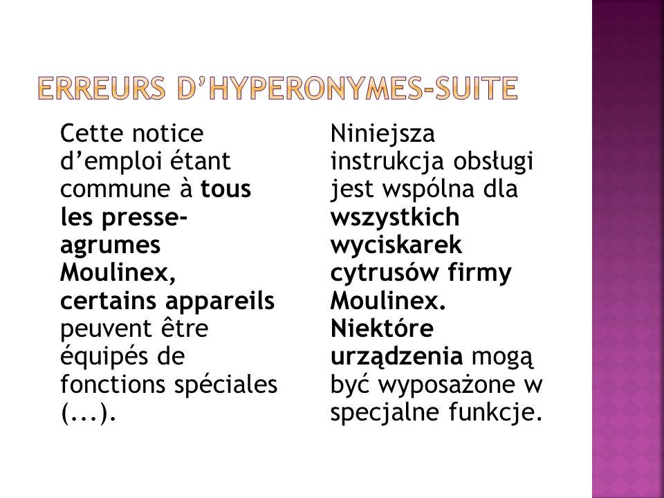 Cette notice d'emploi étant commune à tous les presse- agrumes Moulinex, certains appareils peuvent être équipés de fonctions spéciales (...). Niniejs