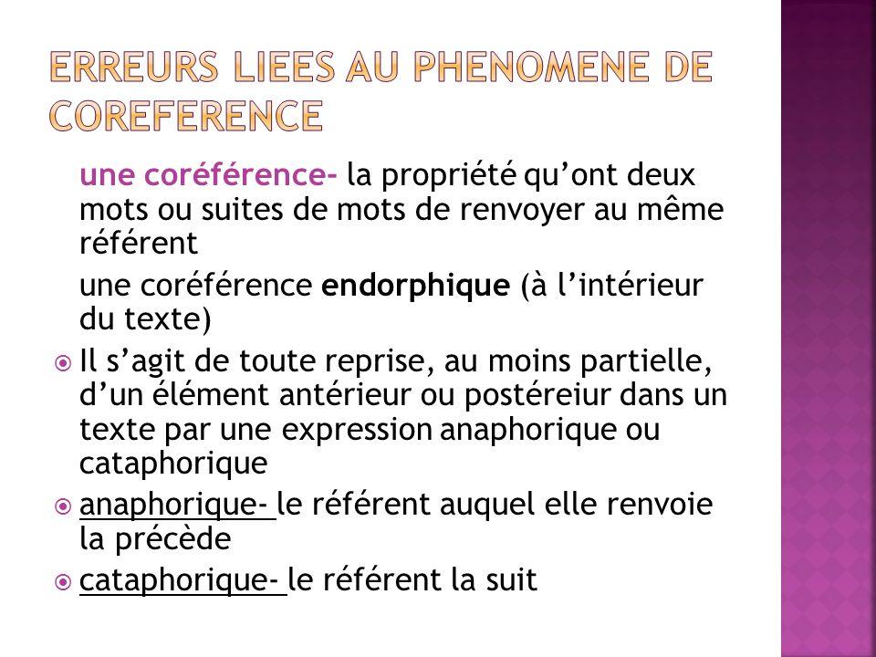 une coréférence- la propriété qu'ont deux mots ou suites de mots de renvoyer au même référent une coréférence endorphique (à l'intérieur du texte)  Il s'agit de toute reprise, au moins partielle, d'un élément antérieur ou postéreiur dans un texte par une expression anaphorique ou cataphorique  anaphorique- le référent auquel elle renvoie la précède  cataphorique- le référent la suit