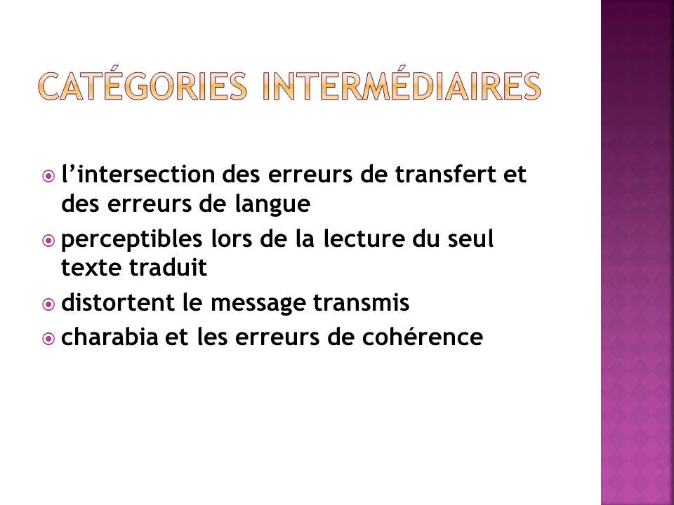  l'intersection des erreurs de transfert et des erreurs de langue  perceptibles lors de la lecture du seul texte traduit  distortent le message transmis  charabia et les erreurs de cohérence
