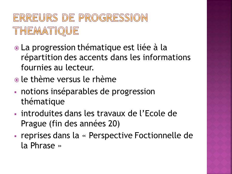  La progression thématique est liée à la répartition des accents dans les informations fournies au lecteur.  le thème versus le rhème  notions insé