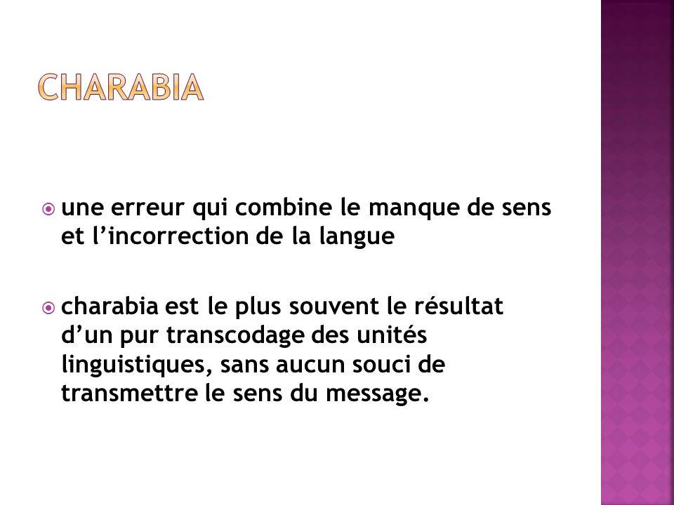  une erreur qui combine le manque de sens et l'incorrection de la langue  charabia est le plus souvent le résultat d'un pur transcodage des unités linguistiques, sans aucun souci de transmettre le sens du message.