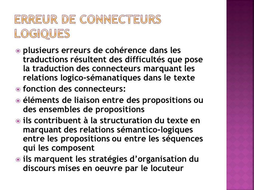  plusieurs erreurs de cohérence dans les traductions résultent des difficultés que pose la traduction des connecteurs marquant les relations logico-s