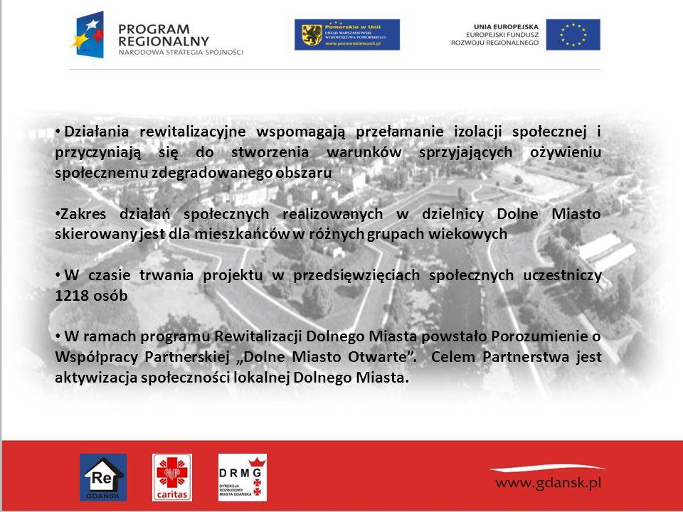 """Działania rewitalizacyjne wspomagają przełamanie izolacji społecznej i przyczyniają się do stworzenia warunków sprzyjających ożywieniu społecznemu zdegradowanego obszaru Zakres działań społecznych realizowanych w dzielnicy Dolne Miasto skierowany jest dla mieszkańców w różnych grupach wiekowych W czasie trwania projektu w przedsięwzięciach społecznych uczestniczy 1218 osób W ramach programu Rewitalizacji Dolnego Miasta powstało Porozumienie o Współpracy Partnerskiej """"Dolne Miasto Otwarte ."""