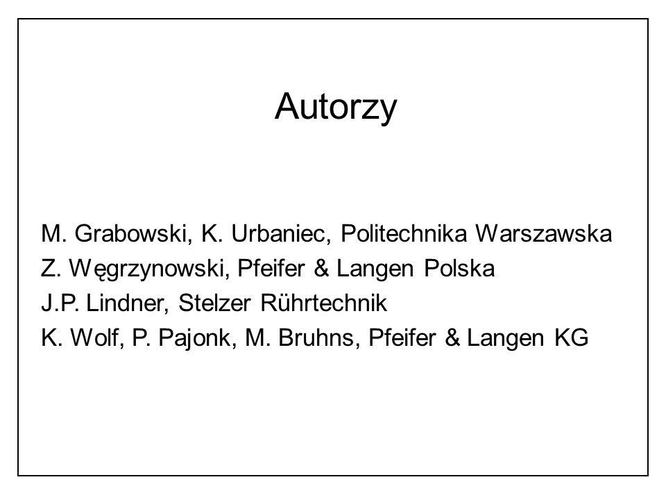 Autorzy M. Grabowski, K. Urbaniec, Politechnika Warszawska Z. Węgrzynowski, Pfeifer & Langen Polska J.P. Lindner, Stelzer Rührtechnik K. Wolf, P. Pajo