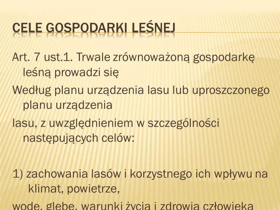 Art. 7 ust.1. Trwale zrównoważoną gospodarkę leśną prowadzi się Według planu urządzenia lasu lub uproszczonego planu urządzenia lasu, z uwzględnieniem