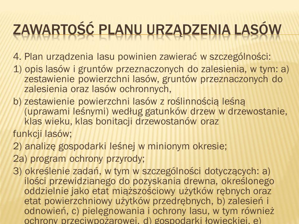 4. Plan urządzenia lasu powinien zawierać w szczególności: 1) opis lasów i gruntów przeznaczonych do zalesienia, w tym: a) zestawienie powierzchni las