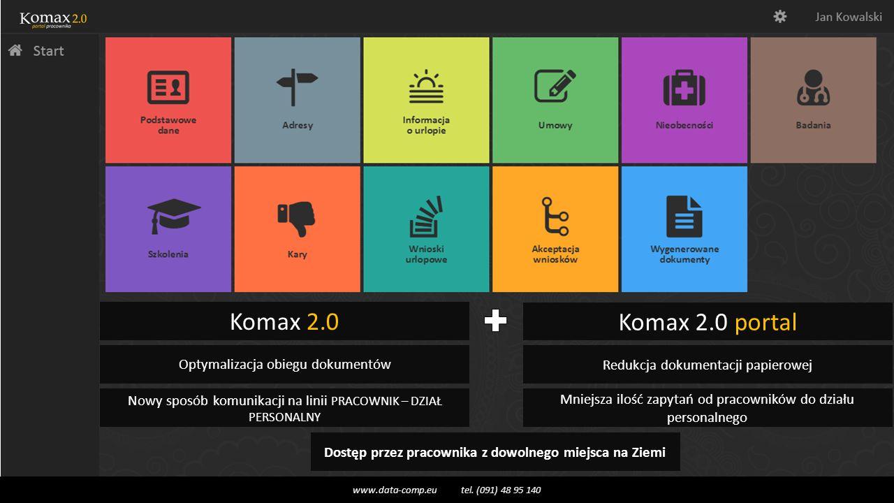 Komax 2.0 Komax 2.0 portal Optymalizacja obiegu dokumentów Redukcja dokumentacji papierowej Nowy sposób komunikacji na linii PRACOWNIK – DZIAŁ PERSONALNY Mniejsza ilość zapytań od pracowników do działu personalnego Dostęp przez pracownika z dowolnego miejsca na Ziemi