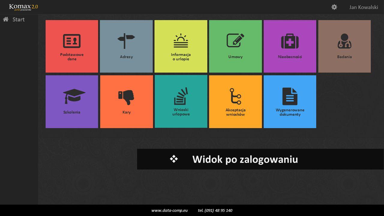  Widok po zalogowaniu www.data-comp.eu tel. (091) 48 95 140
