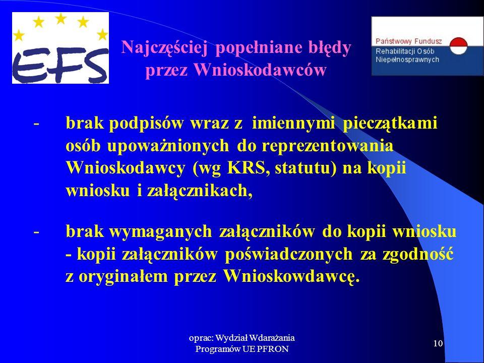 oprac: Wydział Wdarażania Programów UE PFRON 10 - brak podpisów wraz z imiennymi pieczątkami osób upoważnionych do reprezentowania Wnioskodawcy (wg KRS, statutu) na kopii wniosku i załącznikach, - brak wymaganych załączników do kopii wniosku - kopii załączników poświadczonych za zgodność z oryginałem przez Wnioskowdawcę.