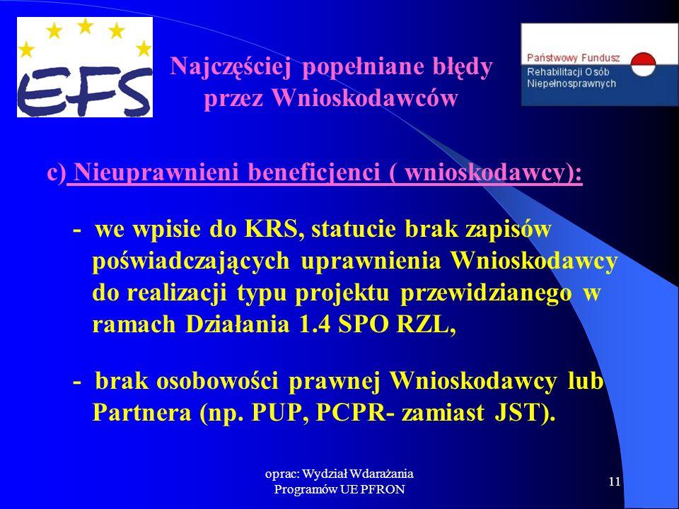 oprac: Wydział Wdarażania Programów UE PFRON 11 c) Nieuprawnieni beneficjenci ( wnioskodawcy): - we wpisie do KRS, statucie brak zapisów poświadczając