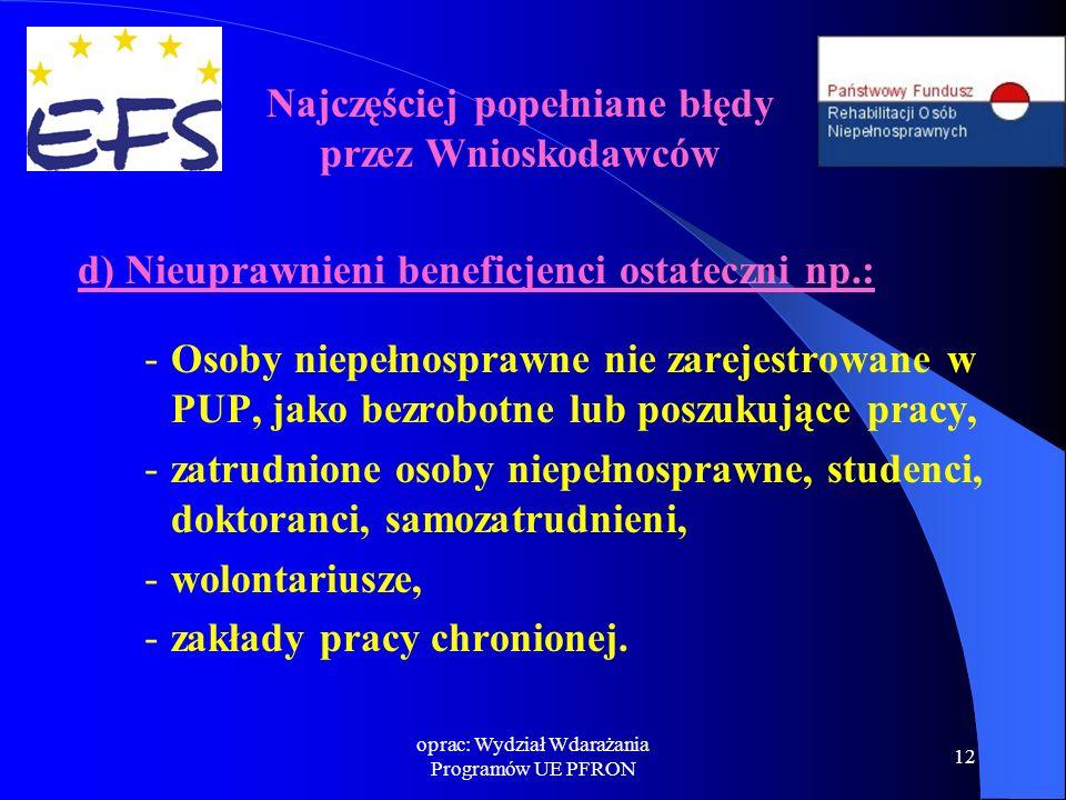oprac: Wydział Wdarażania Programów UE PFRON 12 d) Nieuprawnieni beneficjenci ostateczni np.: - Osoby niepełnosprawne nie zarejestrowane w PUP, jako b