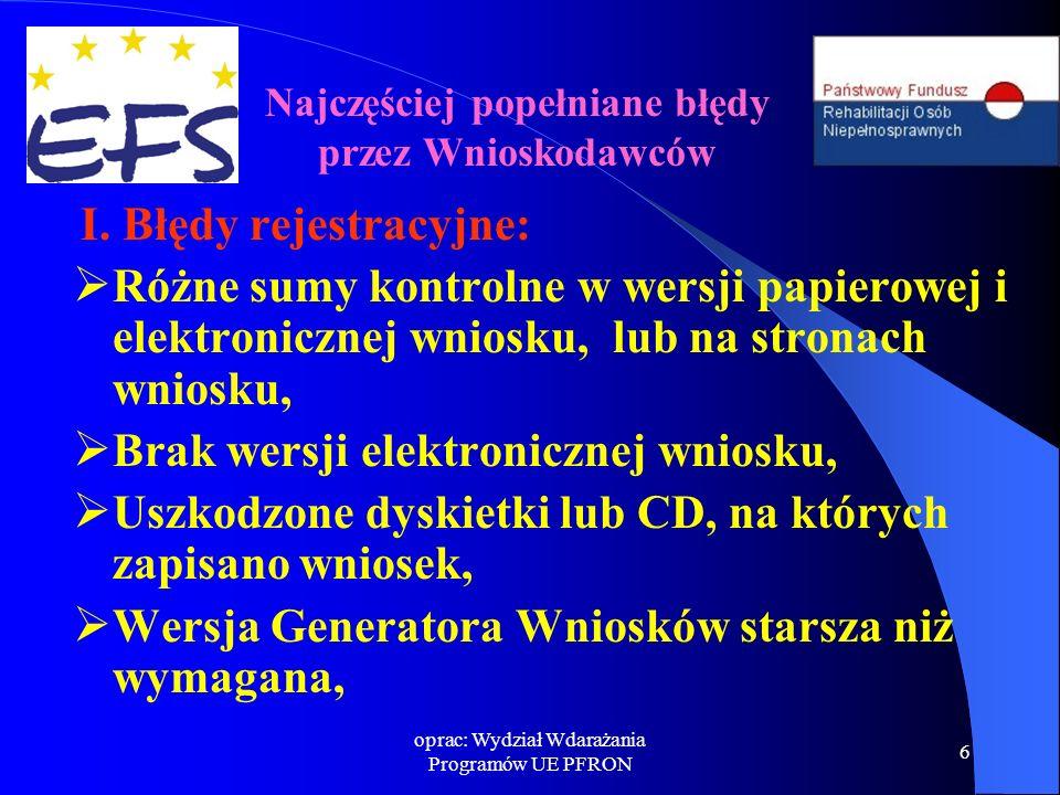 oprac: Wydział Wdarażania Programów UE PFRON 7 II.