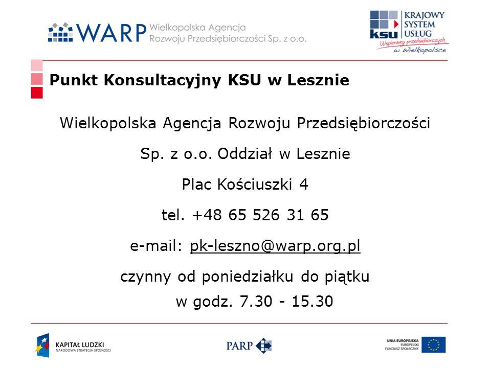 Punkt Konsultacyjny KSU w Lesznie Wielkopolska Agencja Rozwoju Przedsiębiorczości Sp.
