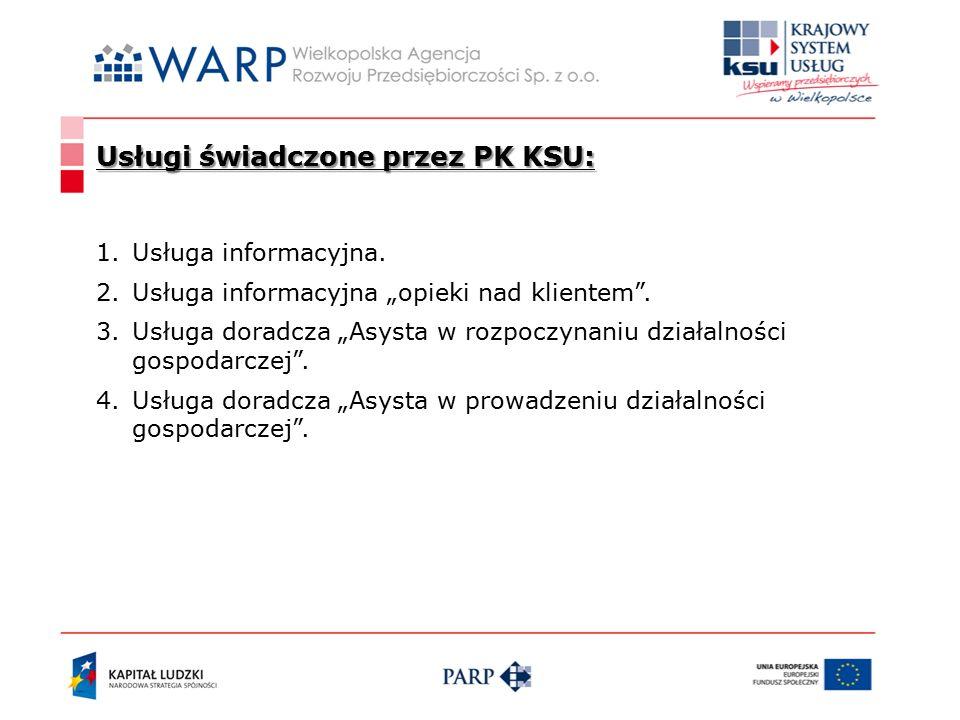Usługi świadczone przez PK KSU: 1.Usługa informacyjna.