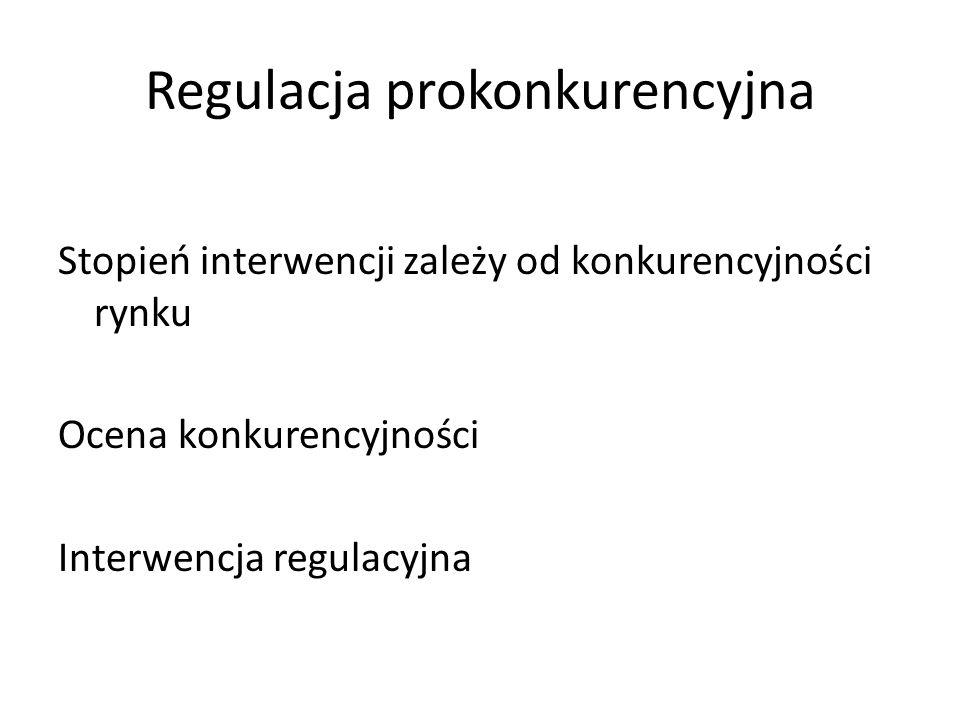Regulacja prokonkurencyjna Stopień interwencji zależy od konkurencyjności rynku Ocena konkurencyjności Interwencja regulacyjna