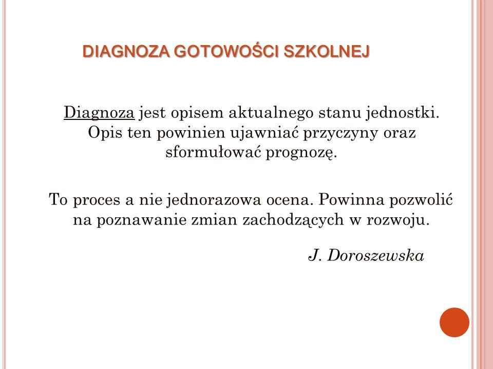 DIAGNOZA GOTOWOŚCI SZKOLNEJ Diagnoza jest opisem aktualnego stanu jednostki.