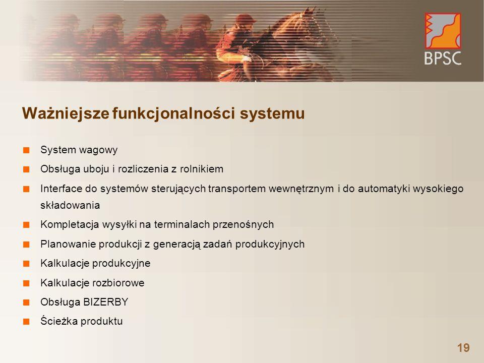 Ważniejsze funkcjonalności systemu ■ System wagowy ■ Obsługa uboju i rozliczenia z rolnikiem ■ Interface do systemów sterujących transportem wewnętrznym i do automatyki wysokiego składowania ■ Kompletacja wysyłki na terminalach przenośnych ■ Planowanie produkcji z generacją zadań produkcyjnych ■ Kalkulacje produkcyjne ■ Kalkulacje rozbiorowe ■ Obsługa BIZERBY ■ Ścieżka produktu 19