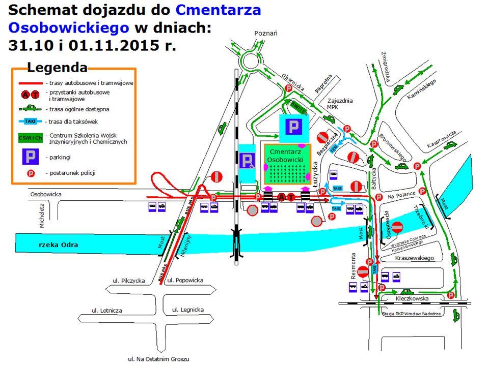 Organizacja ruchu w rejonie cmentarza na ul. Grabiszyńskiej w dniach 31.10 i 01.11.2015 r.