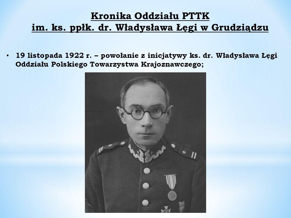 Kronika Oddziału PTTK im. ks. ppłk. dr. Władysława Łęgi w Grudziądzu 19 listopada 1922 r.
