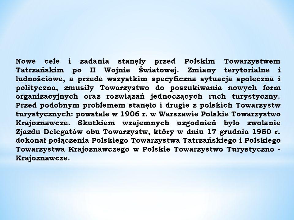 Nowe cele i zadania stanęły przed Polskim Towarzystwem Tatrzańskim po II Wojnie Światowej.