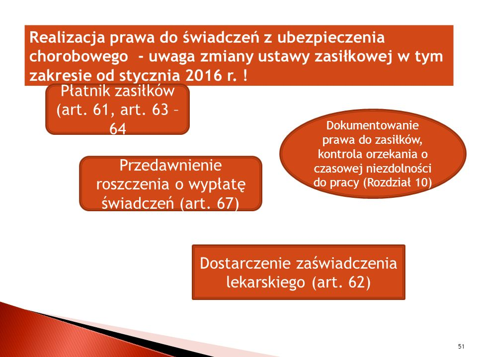 Realizacja prawa do świadczeń z ubezpieczenia chorobowego - uwaga zmiany ustawy zasiłkowej w tym zakresie od stycznia 2016 r. ! 51 Płatnik zasiłków (a