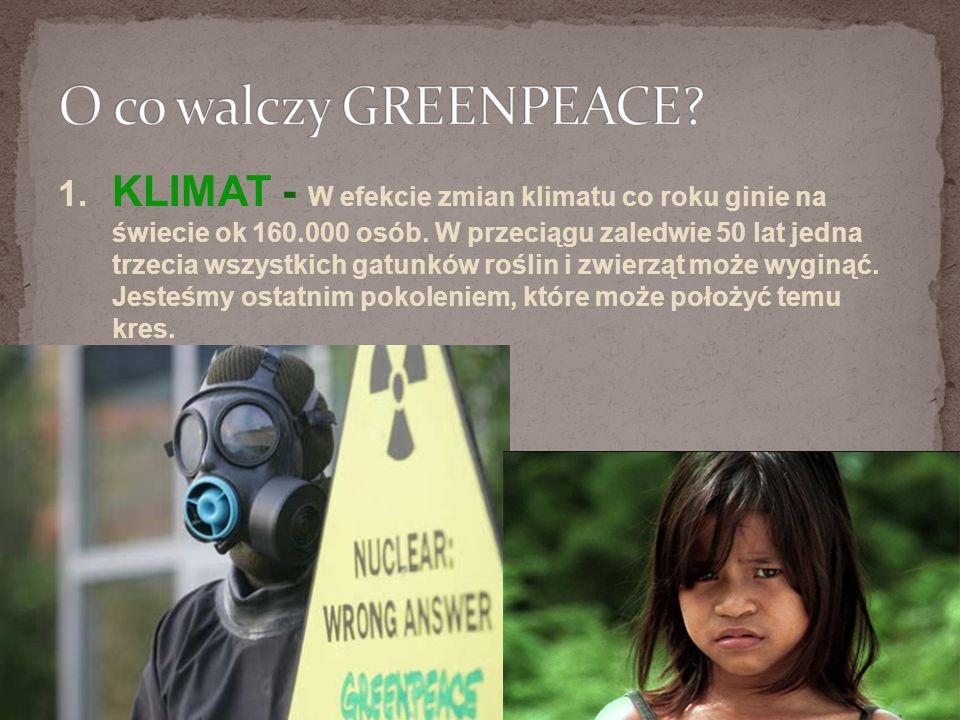 1.KLIMAT - W efekcie zmian klimatu co roku ginie na świecie ok 160.000 osób.
