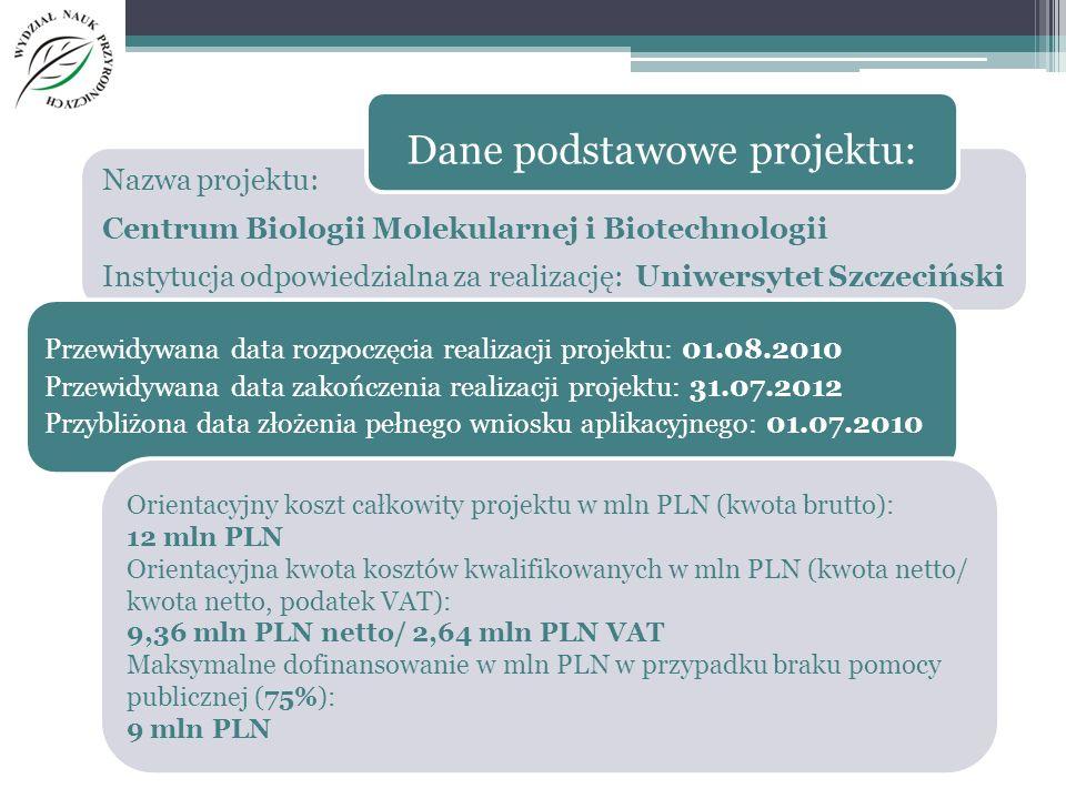 Nazwa projektu: Centrum Biologii Molekularnej i Biotechnologii Instytucja odpowiedzialna za realizację: Uniwersytet Szczeciński Przewidywana data rozp