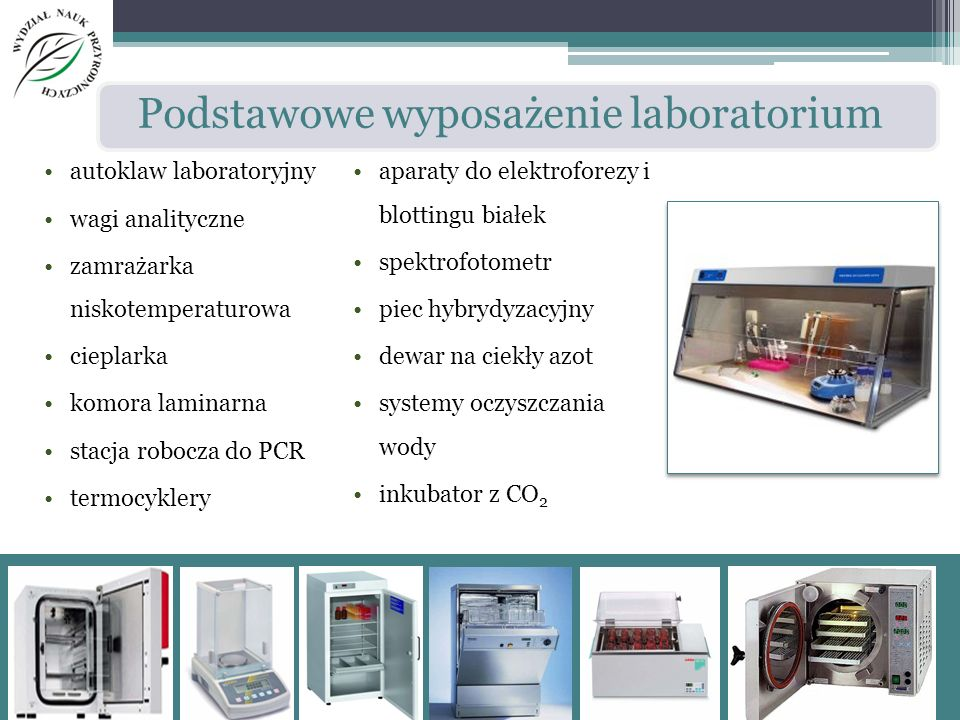 autoklaw laboratoryjny wagi analityczne zamrażarka niskotemperaturowa cieplarka komora laminarna stacja robocza do PCR termocyklery aparaty do elektro