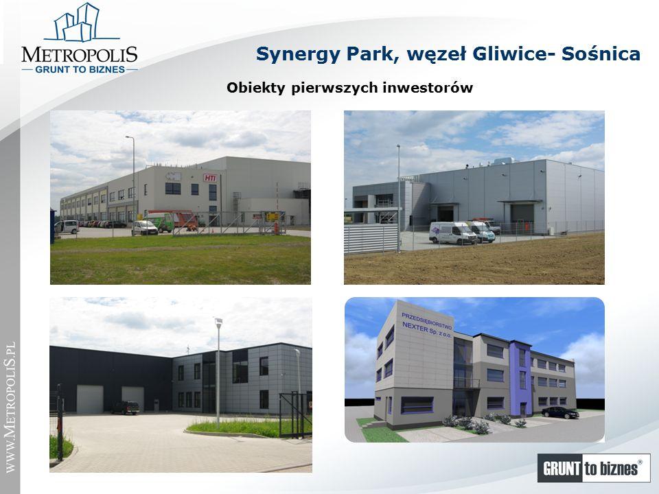 Obiekty pierwszych inwestorów Synergy Park, węzeł Gliwice- Sośnica